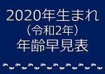 2020年生まれ年齢早見表